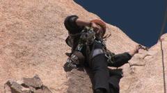 Female Rock Climber- Joshua Tree 1 in seres Stock Footage