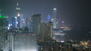 Stock Video Footage of HD video of Hong Kong island and harbour at night