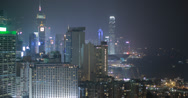 Stock Video Footage of 4K video of Hong Kong island and harbour at night