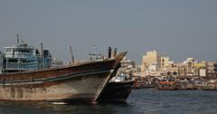 Ultra HD 4K Big Dhow Cargo Freight Historic Old Ship Maritime Oriental Dubai Stock Footage