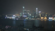 Stock Video Footage of Beautiful HD video of Hong Kong island and harbour at night