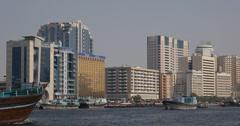 Ultra HD 4K UHD Freight Ship Boat Cargo Dhow Arabian Transportation Dubai Docks Stock Footage