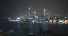 Beautiful 4K video of Hong Kong island and harbour at night Stock Footage