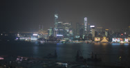 Stock Video Footage of Beautiful 4K video of Hong Kong island and harbour at night