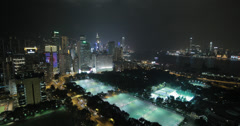 4K video of Victoria Park and Causeway Bay on Hong Kong Island at night Stock Footage