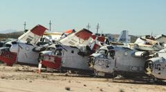 4K Military Aircraft Boneyard Stock Footage