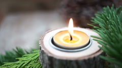 Small beewax candle with copy space Stock Footage