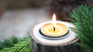 Stock Video Footage of small beewax candle with copy space