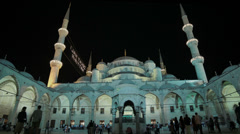 The courtyard of the Sultanahmet Camii Blue Mosque in Istanbul in HD Stock Footage