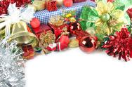 Stock Photo of golden bells and accessory decorations of christmas day.