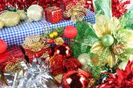 Stock Photo of red ribbon and accessory decorations of christmas day.