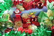 Stock Photo of green ribbon and accessory decorations in christmas day.
