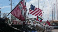 Luxury expensive yacht foreign flags Antigua Island marina HD 1165 Stock Footage