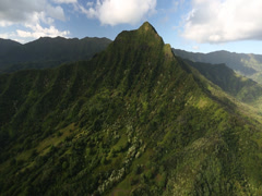 Aerial Shot of a valley with steep cliff in Hawaii Stock Footage