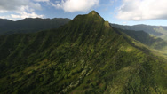 Stock Video Footage of Aerial Shot of a valley with steep cliff in Hawaii
