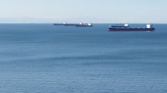 Time Lapse - Container Freight Tankers in English Bay - stock footage