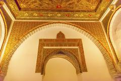 Arch mosaic wall ceiling ambassador room alcazar royal palace seville spain Stock Photos
