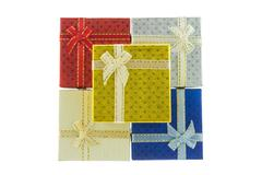 5 christmas and important festival square style gift box set in bird's eye vi - stock photo