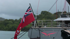 Antigua luxury sailing yacht Isle of Man flag HD 1161 Stock Footage