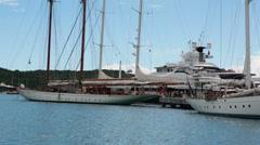 Antigua Nelsons Dock Marina sailboats yachts HD 1187 Stock Footage