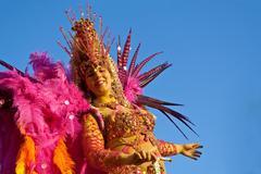 Samba dancer on a float car in the Brazilian Carnival - stock photo