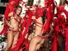 Passistas, the sexy samba dancers and symbol of the Brazilian Carnival Stock Photos