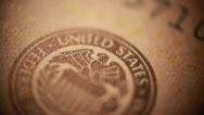Stock Video Footage of Federal reserve sign on paper money