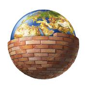 Stock Illustration of Stone wall around the planet earth