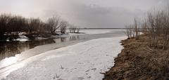Stock Photo of river covered by ice
