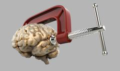 Human brain in a vice Stock Illustration