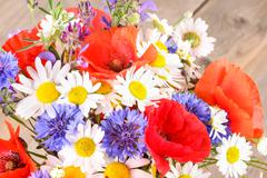 Corn poppies, cornflowers, marguerite - stock photo