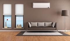living room with air conditioner - stock illustration