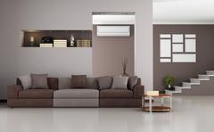 beige and brown modern living room - stock illustration