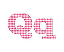 abc fabric gingham, letter q. - stock illustration