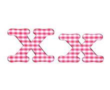 abc fabric gingham, letter x. - stock illustration