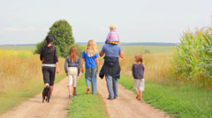 Walk A Large Family Stock Footage