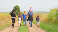 Stock Video Footage of Walk A Large Family