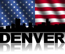 Denver skyline and text reflected with rippled american flag illustration Stock Illustration