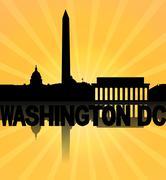 Washington dc skyline reflected with sunburst illustration Stock Illustration