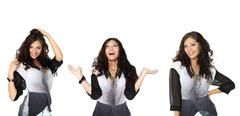 Three happy models in a fashionable blouse Stock Photos