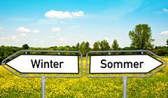 Winter and summer Stock Illustration