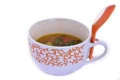 Lunch time with chinese soup - stock photo