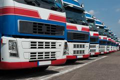Truck Heavy Transport in a line - stock photo