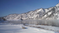 Winter Yenisei Divnogorsk Panorama - stock footage