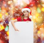 woman in santa helper hat with blank white board - stock illustration