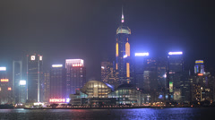 HD video of the Hong Kong convention and exhibition center at night Stock Footage