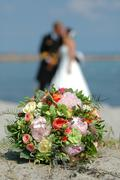 Stock Photo of bouquet, bride and groom