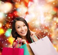 Stock Illustration of woman in red dress with shopping bags
