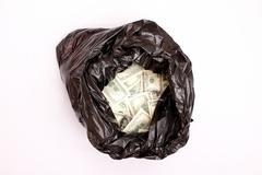 rubbish bag with dollars. - stock photo