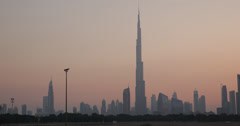 Ultra HD 4K Burj Khalifa Dubai Skyline Cityscape Red Dusk Dawn Light Orange Sky Stock Footage